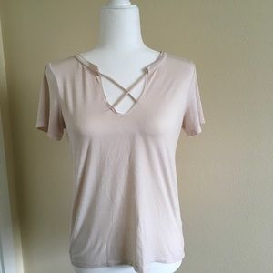 American Eagle Criss Cross Front V-Neck Tee